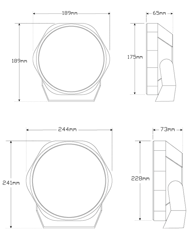 LED Autolamps 9 Inch TIR OPTICS Driving Lights Technical Drawings